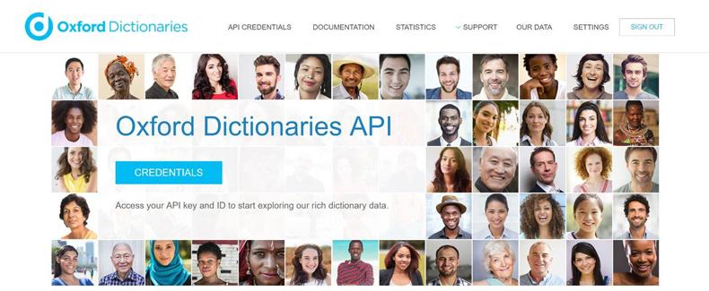 Oxford Dictionaries API credentials